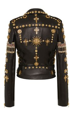 Embroidered Leather Biker Jacket by Fausto Puglisi for Preorder on Moda Operandi