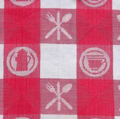 Pink plaid Cotton damask tablecloth or Picnic with coffee tea and utensil theme by vakvar on Etsy