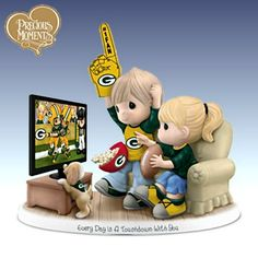 Sports Dolls and Figurines - Precious Moments Every Day Is A Touchdown With You Packers Figurine