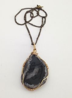 Black Agate Slice Pendant With Brass Chain