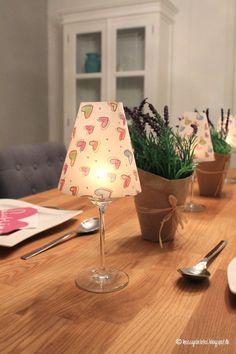 DIY Weinglas Lampenschirme * Kerzenständer * Deco * Kerzen DIY * Gartenparty * Tischdekoration