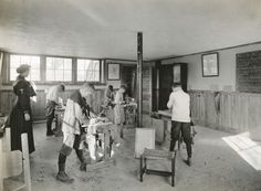 """Bench Work, woodshop blackboard reads """" Rules for Planing"""" 1919 Abc School, Historical Society, Wisconsin, Schools, Bench, Teacher, Kids, Young Children, Professor"""