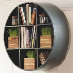 Round Metal Hanging Shelf could make with cheese boxes
