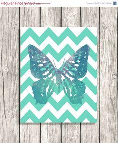 SALE Zig Zag Decor - Chevron Wall Art - Mint Blue Green Butterfly Printable Download -Nursery Art, Kids Room Decor DIY DOWNLOAD