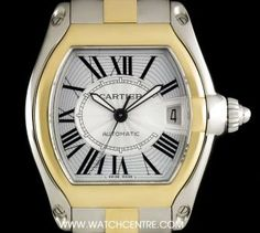 #Cartier Steel & Gold Silver Roman Dial #Roadster Gents B&P