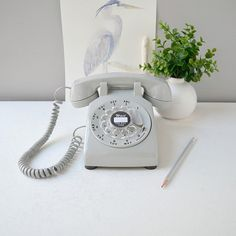 Vintage rotary phone; working rotary dial telephone; gray retro phone; 1980's rotary dial desk phone in gray
