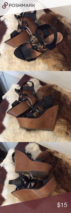 D wedge heels Black leather sandals Shoes Wedges