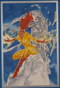 Iceman and Firestar, in Tim Durie's X-men Comic Art Gallery Room American Flag Tank, Mandala Print, Nerd Geek, Working Woman, Print Tank, Latest Fashion For Women, Lovers Art, Cyberpunk, Comic Art