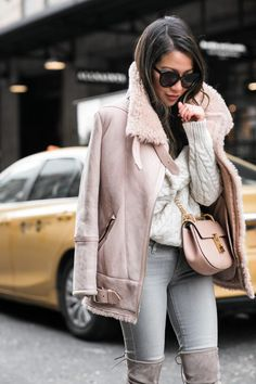 Winter Rose :: Pink winter jacket & Chloe nude bag :: Outfit :: Top :: Iro jacket, Forever 21 sweater Bottom :: Paige Bag :: Chloe Shoes :: Stuart Weitzman Accessories :: Karen Walker sunglasses, David Yurman ring Published: January 9, 2017