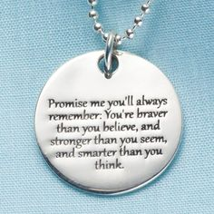 Gift Idea for Ashley Heath Promise Me Christopher Robin Quote Pendant - Sterling Silver Engraved Necklace Daughter Quotes, To My Daughter, Daughters, Christopher Robin Quotes, Just In Case, Just For You, Bash, Engraved Necklace, I Promise