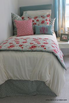 Design your own Shabby Chic dorm room. Love this Anthropologie inspired bedding set. Beautiful blues with a pop of pink. Sheer perfection. Perfect for dorm, teen, sorority, apartment and home. Designer headboard, custom pillows, exclusive bed scarf, window panels, wall art, bed skirts, duvet (twin, queen, king) and custom monogramming!! Turn your room from drab to fab!! #topdormbedding…