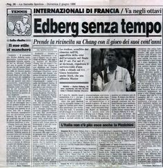 """Two articles taken from """"La Gazzetta dello Sport"""" of June 2nd 1996 written by Vincenzo Martucci and Rino Tommasi about Stefan Edberg's revenge on Michael Chang at the 1996 French Open."""