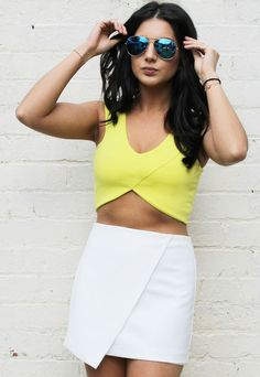 Shaped Bandage Wrap Crop Top in Yellow