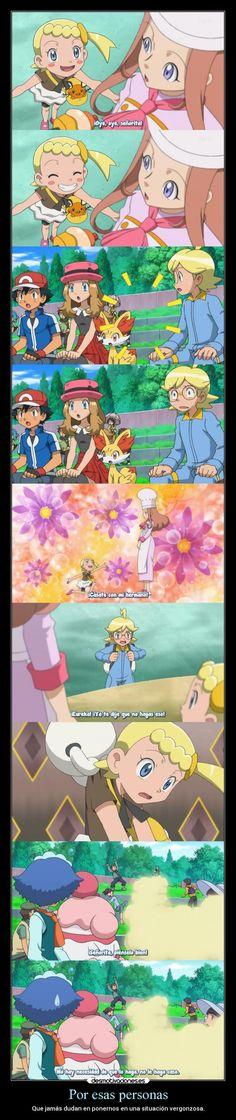 carteles humor anime pokemon otaku devilbrigade clem clemont ashketchum serena slurpuff personas fennekin desmotivaciones