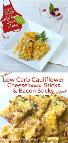 Low Carb easy cheesy Cauliflower bread sticks, or with bacon for appetizers, snacks or side dish. Click thru for easy recipe. Easy Dinner Recipes, Snack Recipes, Easy Meals, Keto Snacks, Yummy Recipes, Mozzarella, Tofu, Quinoa, Cauliflower Bread