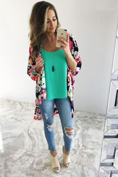 Floral kimono outfit-Mix and match summer casual wear – Just Trendy Girls