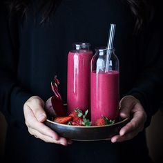 """Cherry Berry Beet Smoothies are new on the blog tonight! The shocking pink color of these fruity drinks totally count as my """"Valentines"""" post for the year, right? . http://thekitchenmccabe.com/2017/02/09/cherry-berry-beet-smoothie/ .  #smoothie #beet #berry #cherry #smoothies #juicing #banana #orange  #huffposttaste #buzzfeast #feedfeed @thefeedfeed #onmytable #thatsdarling #instadrink #whatveganseat #vegansofig #refinedsugarfree #foodphotographer #foodphotography #theartofslowliving…"""