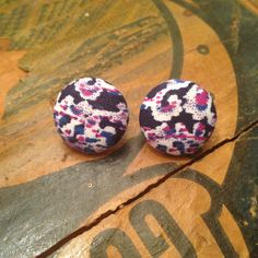 Vintage Deco Fabric Button Earrings by TwoLittleBoats on Etsy