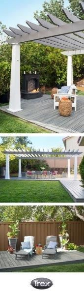 Define your outdoor space with a stunning Pergola from Trex. It provides shade for your deck, yet still allows you to see the stars when the sun goes down. For more pergola ideas, visit: www.trexpergola.com/