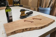 How to turn a piece of live edge olive wood into a stylish serving board. So here's everything I used in the project. A slab of live edge olive wood that I pu… Narrow Sofa Table, Tree Stump Side Table, Live Edge Shelves, Floating Bathroom Vanities, Dining Room Sideboard, Wood Mantels, Wine Stains, Rustic Desk, Live Edge Wood