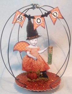 Fairy Halloween Witch Captured Cage Vtg Mixed Media Altered Art Collage OOAK | eBay
