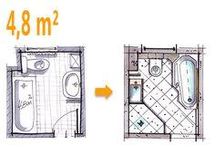 Badplanung Beispiel 4,8 qm Wannenbad bekommt zusätzlich eine Dusche