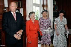 2005 Wahington, USA; King Harald V, Princess Ragnhild, Princess Astrid and Queen Sonja of Norway answer questions from the media prior to the unveiling ceremony of the statue of their late mother, Crown Princess Martha, at the Norwegian Embassy September 18, 2005 in Washington, DC. The statue was a gift presented to the citizens of Norway from the Norwegian American Foundation on behalf of the Norwegian-American community in the United States.