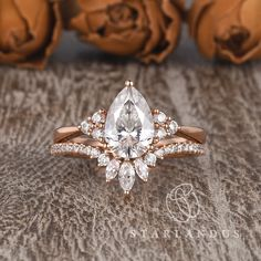 Pear Shaped Engagement Rings, Engagement Ring Shapes, Dream Engagement Rings, Rose Gold Engagement Ring, Engagement Ring With Band, Solitaire Engagement, Cinderella Engagement Rings, Most Beautiful Engagement Rings, Timeless Engagement Ring