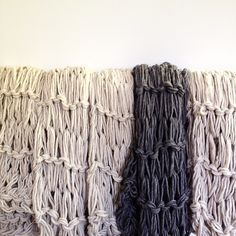Dozens of Glacier Scarves being made in the studio today! #aportatextiles #aporta #scarf #scarves #knit #knitting #wool #grey #taupe #style #fashion #blogger #shopping #designer #design #warm #autumn #mountain #city