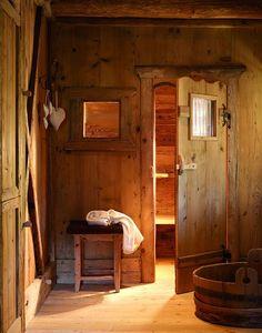 Entrance to sauna at the San Lorenzo Mountain Lodge in San Lorenzo di Sebato, Italy designed by Giorgia and Stefano Barbini Cabin Interior Design, House Design, Interior Ideas, Design Design, Outdoor Sauna, Sauna Design, Log Cabin Designs, Sauna Room, Sauna House