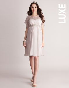 fe97ee3e8d7a Seraphine's Blush Silk Chiffon Maternity Dress is a stunning option for a  wedding or special occasion, before, during or after pregnancy.