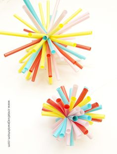 Drinking straw starbursts! Super easy to make. Just take a handful of straws and wrap a zip  tie as tight as you can around the middle. Visit the site for full instructions.