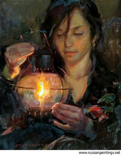 Her attention is completely on the light and its warm glow.  'Lantern's Warmth', Daniel F. Gerhartz.