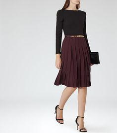 Selina Garnet Pleated Midi Skirt - REISS. love the long sleave top with the skirt