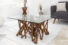 Design teak coffee table Driftwood natural brown with square glass top Riess AmbienteRiess Ambie - Interior Decorating Tips, Decor Interior Design, Interior Design Living Room, Living Room Decor, Driftwood Furniture, Bench Furniture, Solid Wood Furniture, Coffee Table Design, Teak Coffee Table