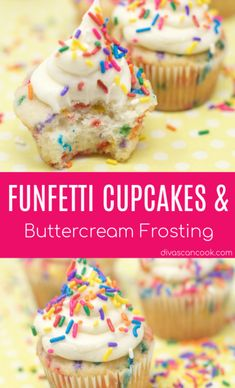 Homemade funfetti cupcakes that bakes up moist and tender using simple ingredients. Topped with buttercream frosting + tips to make better funfetti cupcakes Single Serve Desserts, Desserts For A Crowd, Winter Desserts, Great Desserts, Delicious Desserts, Funfetti Cupcake Recipe, Cupcake Recipes, Dessert Recipes, Cupcake Ideas