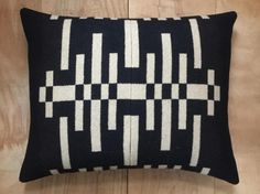 Wool Pillow  Black Beige Geometric Tribal Modern by RobinCottage