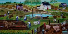 farmyard folk art painting farm animals farmer pig horse apple sheep lambs sunflowers dog cat american flag
