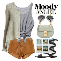 """""""Moody Angel"""" by ivansyd ❤ liked on Polyvore featuring Polaroid, Free People, Forte Forte, Chloé, Victoria Beckham and saddleup"""