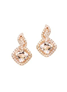 Set in 14K pink gold and embellished with tiny white diamonds, these morganite earrings add elegance and effortless beauty to any look. Each earring features a cushion cut centre stone, white diamond accents that sit against the earlobe, and simple butterfly push back closures that make them ultra-comfortable to wear.