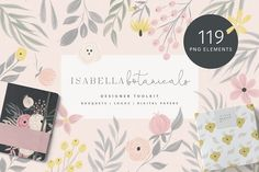 Isabella Botanicals Kit by Sunny Blossom Designs A beautiful botanical pack perfect for branding, logo design, packaging, product design, wedding stationary and more! This pack has been hand drawn in ProCreate on the iPad with an apple pencil and one wate Watercolor Leaves, Watercolor And Ink, Pencil Illustration, Graphic Illustration, Illustrations, Elegant Logo, Floral Logo, Watercolor Design, Wedding Stationary