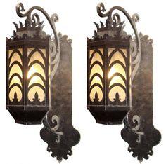 Art deco sconces: fabulous pair of large bronze & copper art deco sconc Iron Wall Art, Iron Art, Chandeliers, Art Deco Table, French Art Deco, Estilo Art Deco, Diy Step By Step, Copper Art, Cottage Exterior