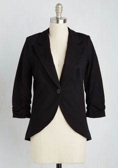 Fine and Sandy Blazer in Noir. No need to roll up your sleeves before the big meeting - this one-button blazer boasts ruched 3/4-length sleeves for a look that means chic and functional business. #black #modcloth