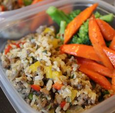 Turkey Dirty Brown Rice- spicy yummy, left out cilantro, added green pepper, Sriracha