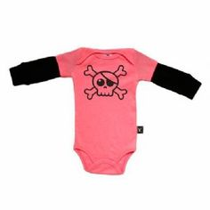 Nununu Baby Pink Skull Long Sleeved Onesie - available for international delivery from www.alittlebitofcheek.com.au