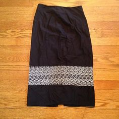 Pencil skirt Classic black pencil skirt with cream embroidery. 100% cotton. Size 1/2.. Slit is on the side just showing how high it goes ESPRIT Skirts Midi