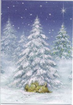 Christmas Deer in Snowy Forest by Mailbox Happiness-Angee at Postcrossing, via Flickr