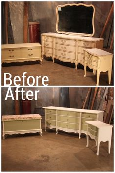 A Dated Bedroom Set Transforms into Updated Furniture Set