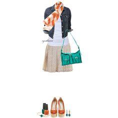 Dot skirt, tee shirt, jean jacket & orange scarf :)