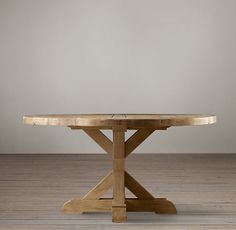 """Salvaged Wood X Base Dining Table- round all wood . Restoration Hardware $1,500. 48"""" , 60"""" or 72"""" Diameter."""